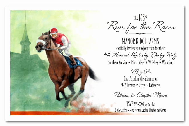 Kentucky Derby Invitation Templates Free Luxury Front Runner Kentucky Derby Party Invitations