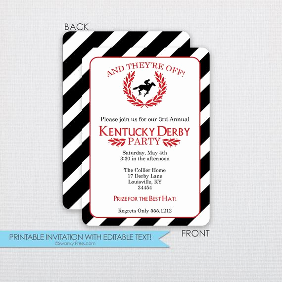 Kentucky Derby Invitation Templates Free Unique Stripes and Laurel Kentucky Derby Invitation Dinner
