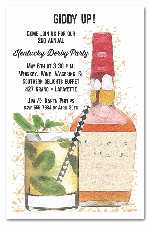 Kentucky Derby Invitation Wording Awesome Bourbon and Mint Julep Kentucky Derby Party Invitations
