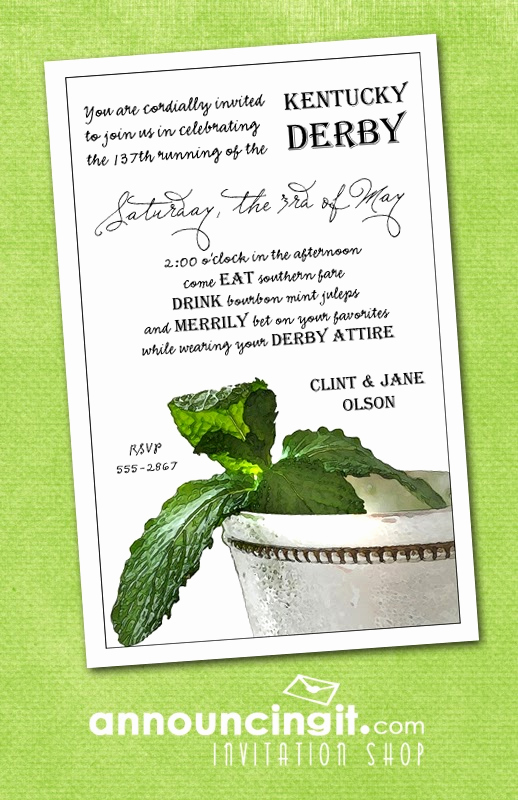 Kentucky Derby Invitation Wording Awesome Derby Me Mint Julep Kentucky Derby Party Invitations