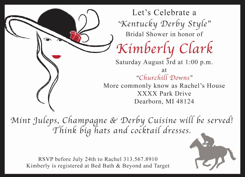 Kentucky Derby Invitation Wording Best Of Kentucky Derby Bridal Shower Invitation by