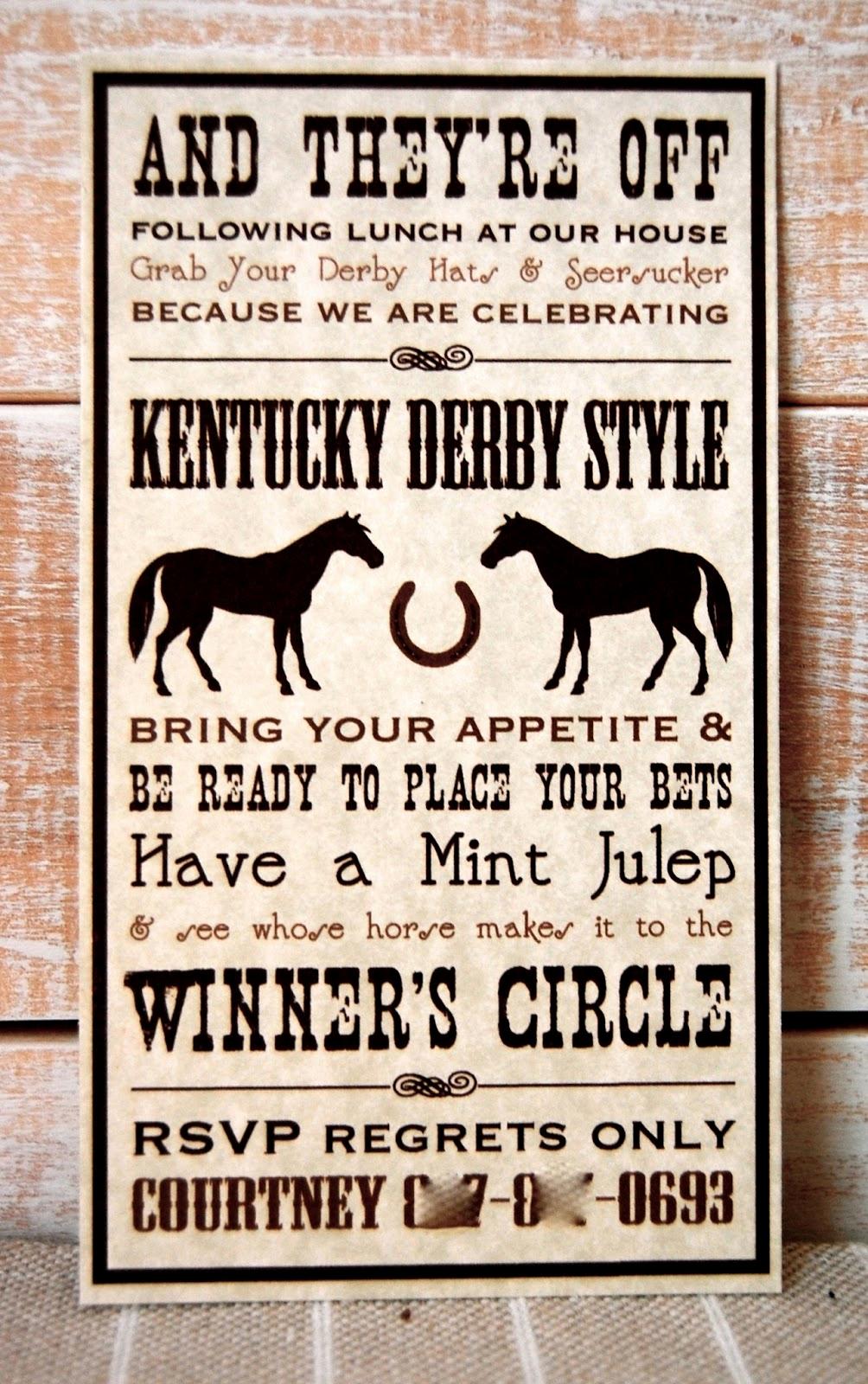 Kentucky Derby Invitation Wording Elegant Beth Kruse Custom Creations Kentucky Derby Party