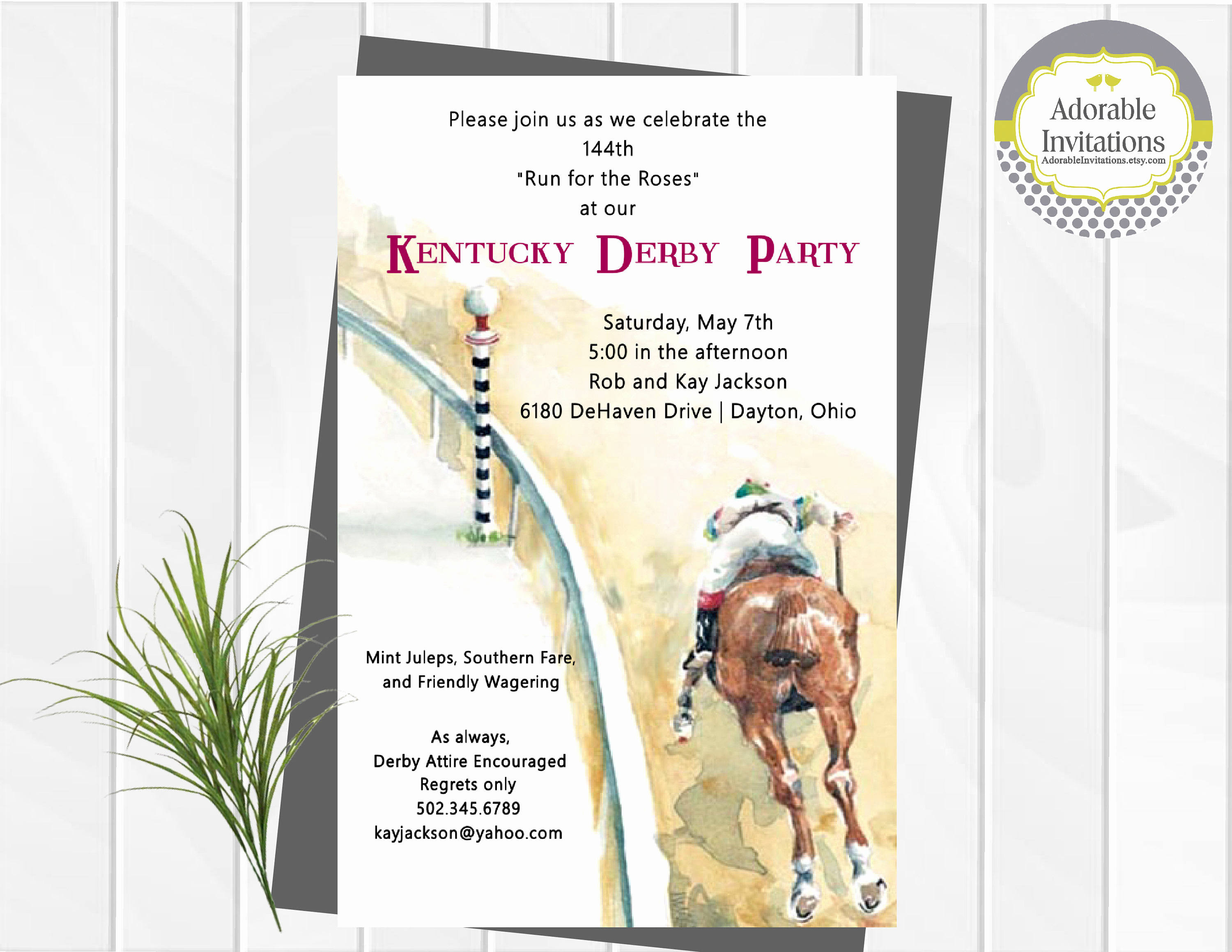 kentucky derby party invitation run for