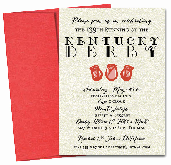Kentucky Derby Invitation Wording Inspirational Rose Trio Kentucky Derby Party Invitations