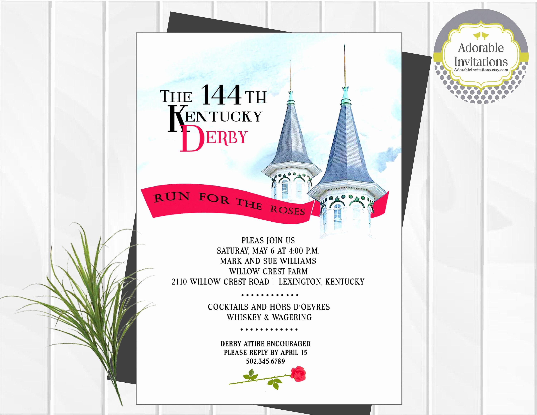 Kentucky Derby Invitation Wording Luxury Kentucky Derby Party Invitation Run for the Roses