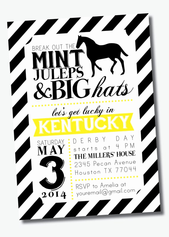 Kentucky Derby Party Invitation Wording Beautiful Customizable Kentucky Derby Party Invitation