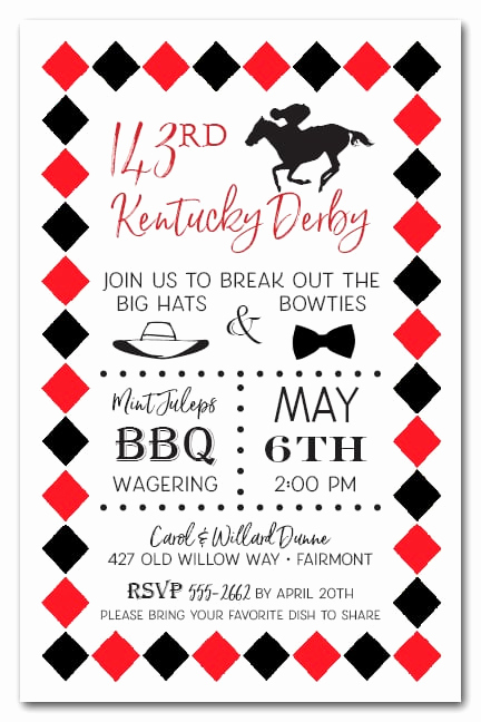Kentucky Derby Party Invitation Wording Best Of Derby & Diamonds Kentucky Derby Party Invitations