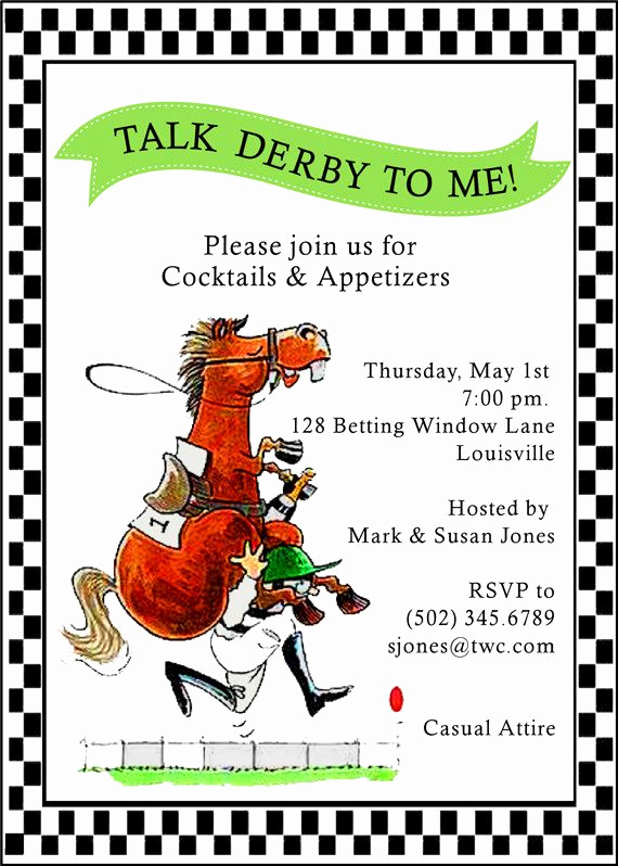 Kentucky Derby Party Invitation Wording Elegant Determined Jockey by Adorableinvitations On Etsy $43 25