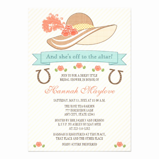 Kentucky Derby Party Invitation Wording Elegant Kentucky Derby Hat Bridal Shower Invitation