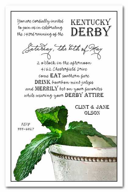 Kentucky Derby Party Invitation Wording Elegant Mint Julep Kentucky Derby Party Invitations