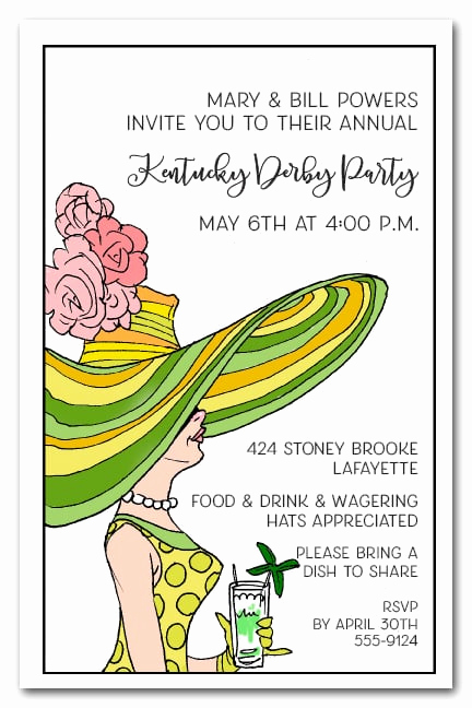 Kentucky Derby Party Invitation Wording Inspirational Derby Day Lady Kentucky Derby Invitations