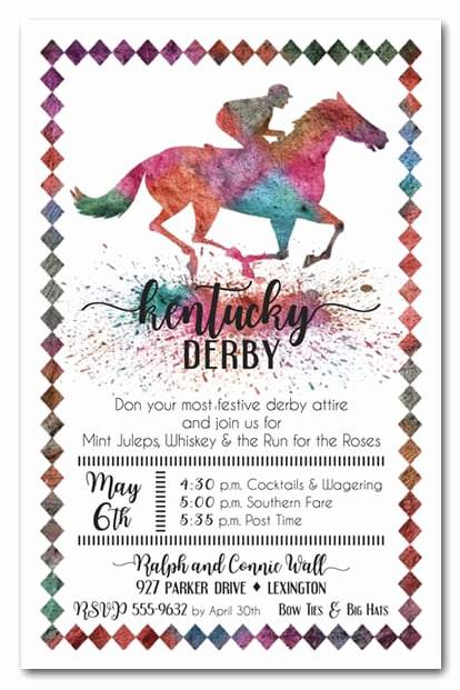 Kentucky Derby Party Invitation Wording Lovely Painted Race Horse Kentucky Derby Party Invitations