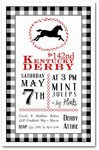 Kentucky Derby Party Invitation Wording New Black Check Derby Party Invitations Horse Racing Invitations