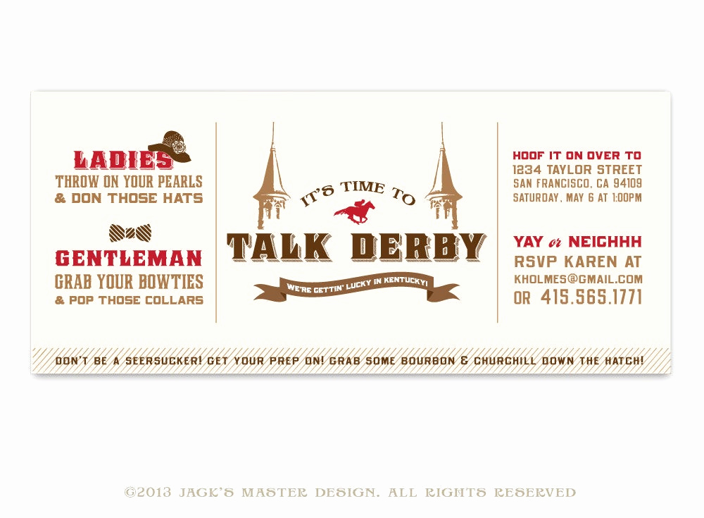 Kentucky Derby Party Invitation Wording New Printable Kentucky Derby Party Invitation by Jacksmaster