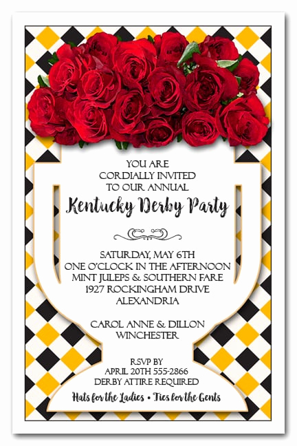 Kentucky Derby Party Invitation Wording New Vase Of Roses On Diamonds Kentucky Derby Party Invitations