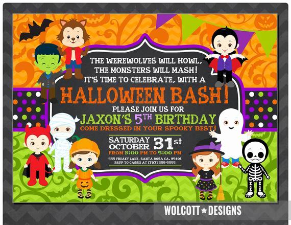 Kid Halloween Party Invitation Beautiful Halloween Birthday Invitation Kids Halloween Party