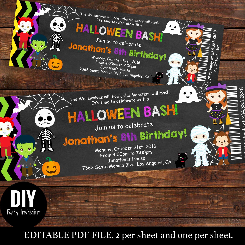 halloween ticket birthday invitations