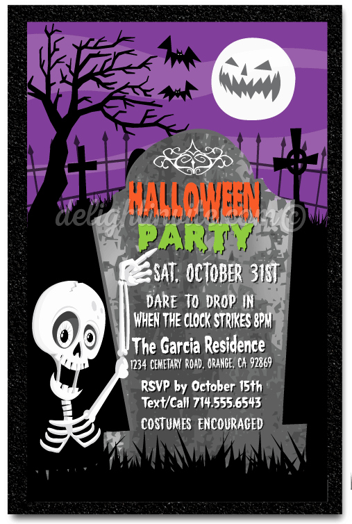 Kid Halloween Party Invitation Inspirational Kid Friendly Skeleton Halloween Party Invitations Costume