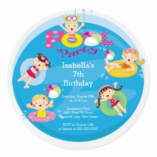 Kid Pool Party Invitation Awesome Cute Kid S Pool Birthday Party Invitation