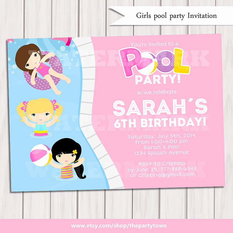 Kid Pool Party Invitation Awesome Girl Pool Party Invitation Kids Pool Party Invitation Pool