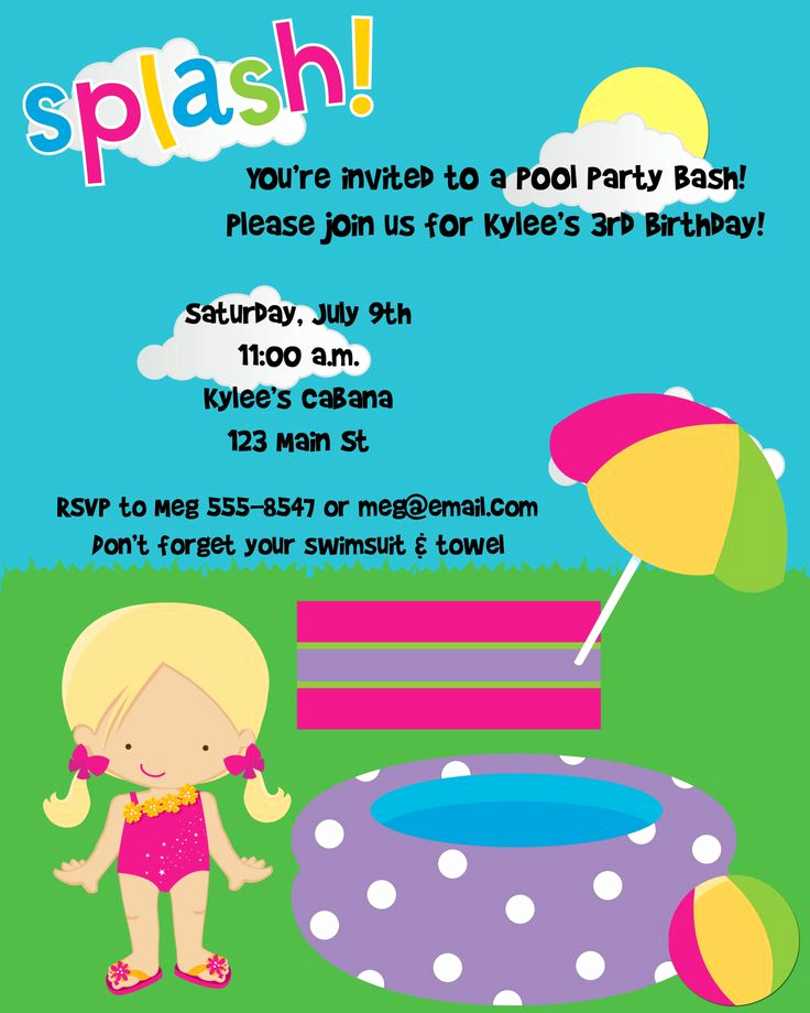 Kid Pool Party Invitation Beautiful 17 Best Images About Water Park Backyard Birthday Party On