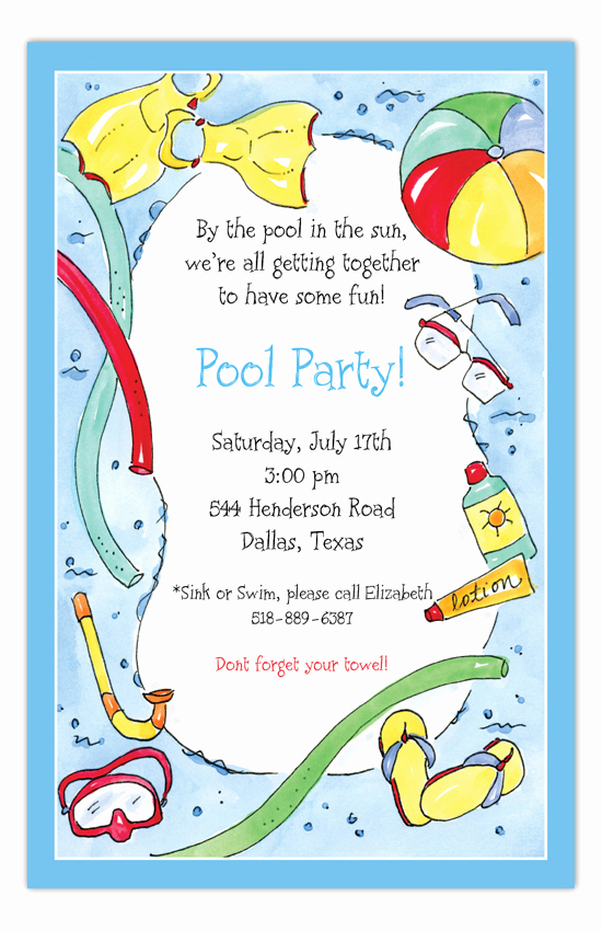 Kid Pool Party Invitation Beautiful Swimming Fun Kids Pool Party Invitations