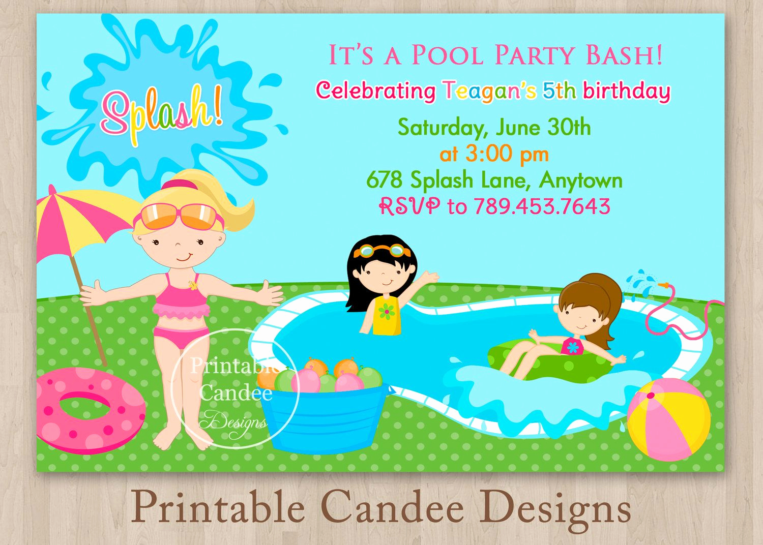 Kid Pool Party Invitation Best Of Pool Party Invitations for Kids Free Printable