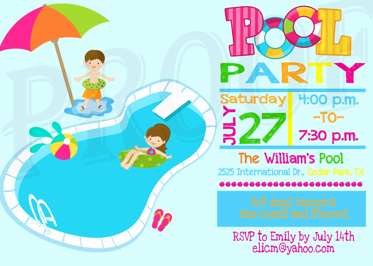 Kid Pool Party Invitation Fresh Pool Party Invitation Pool Party Decoration Kids Pool Party