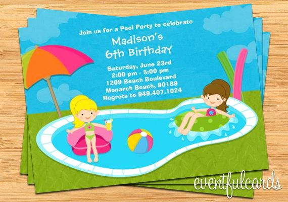 Kid Pool Party Invitation Inspirational Kids Pool Party Birthday Invitation 5x7 Printable File