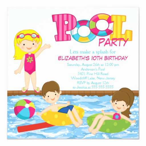 Kid Pool Party Invitation Lovely Blonde Girl Birthday Summer Pool Party Invitation