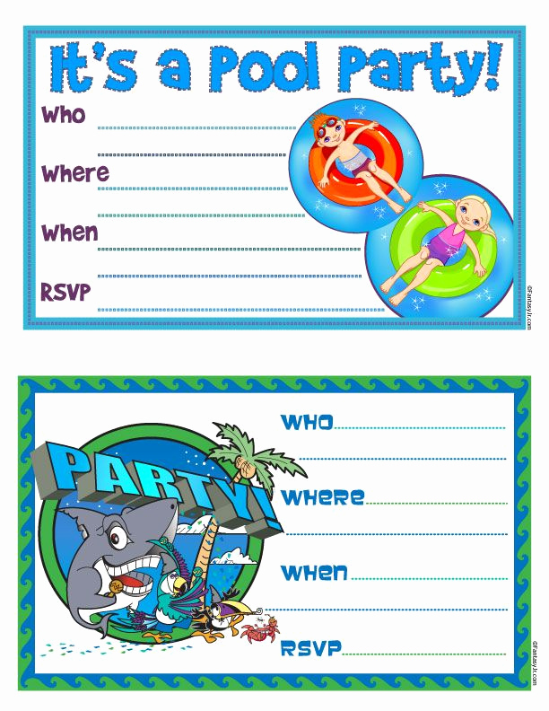 "Kid Pool Party Invitation Lovely Free Printable ""pool Party"" Invites"