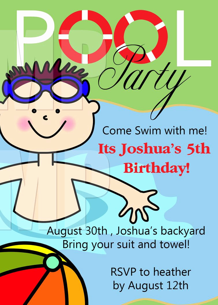 Kid Pool Party Invitation Luxury Free Printable Birthday Pool Party Invitations Templates