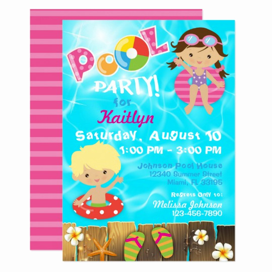 Kid Pool Party Invitation Luxury Neon Glow In the Dark Party