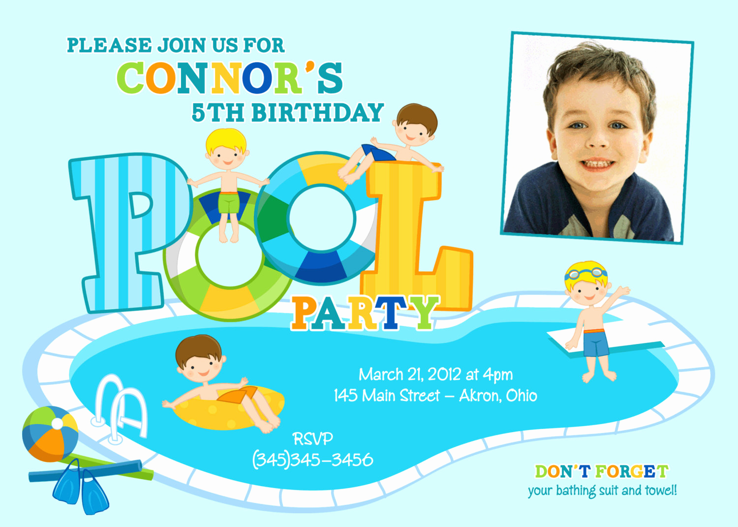 Kid Pool Party Invitation Luxury Swimming Pool Party Kids Summer Birthday Invitations