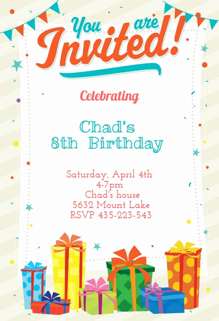 Kids Birthday Party Invitation Template Awesome Kids Birthday Invitation Templates Free