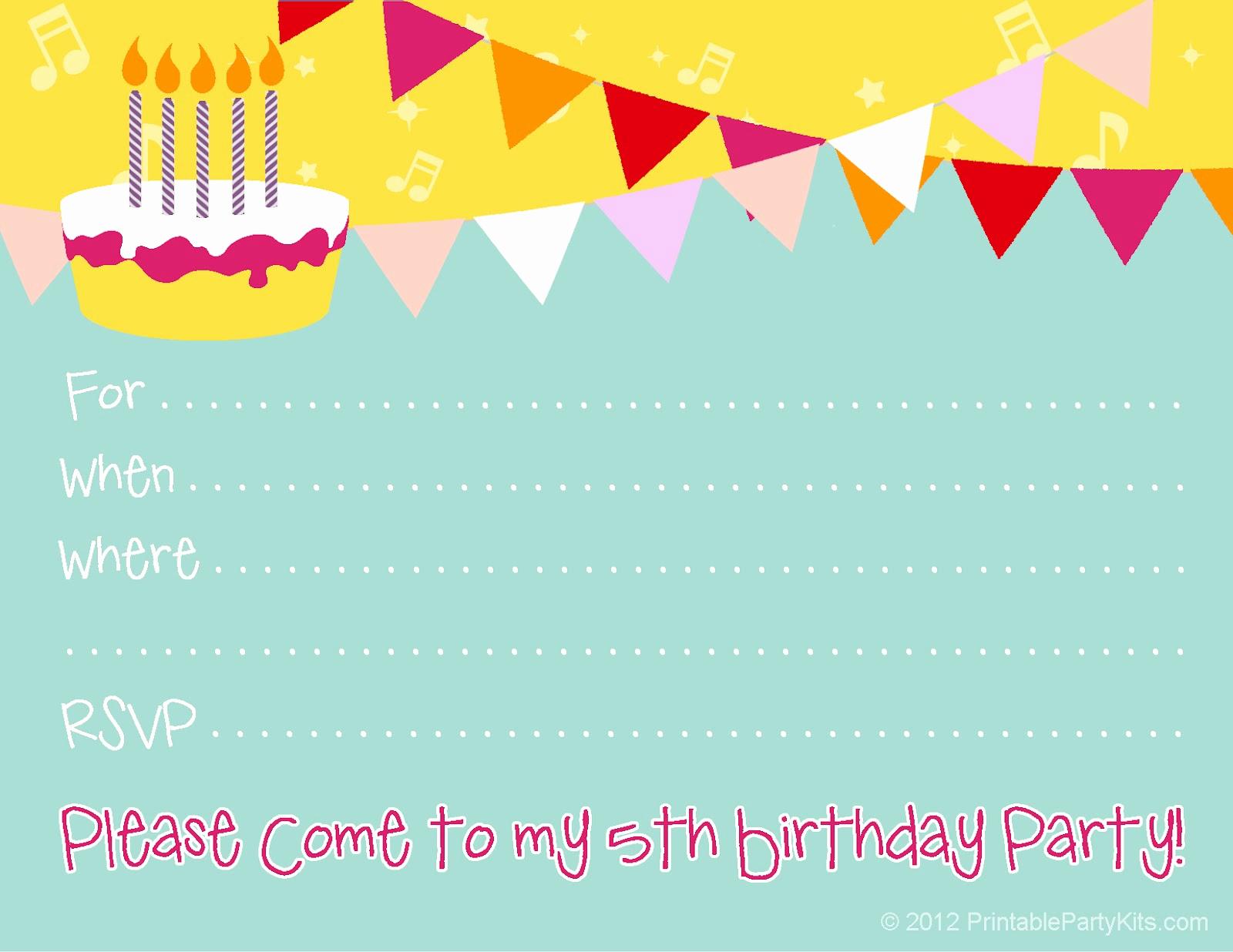 Kids Birthday Party Invitation Template Inspirational Free Birthday Party Invitations for Girl – Free Printable