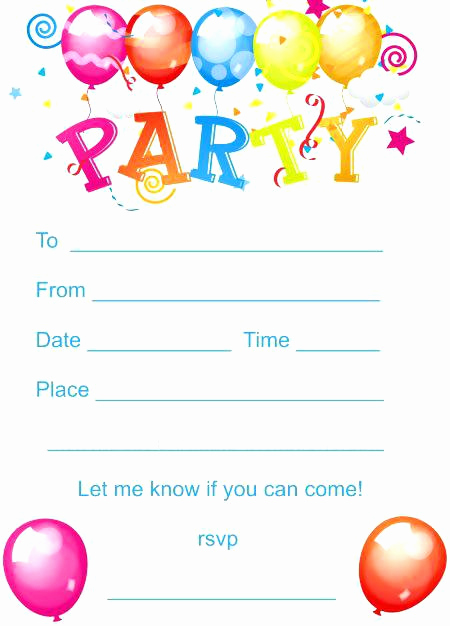 Kids Birthday Party Invitation Template Lovely Kids Birthday Invitations Printable