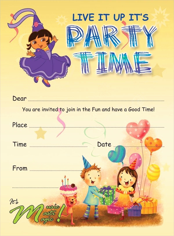 Kids Birthday Party Invitation Template New 19 Kids Party Invitation Designs & Templates Psd Ai
