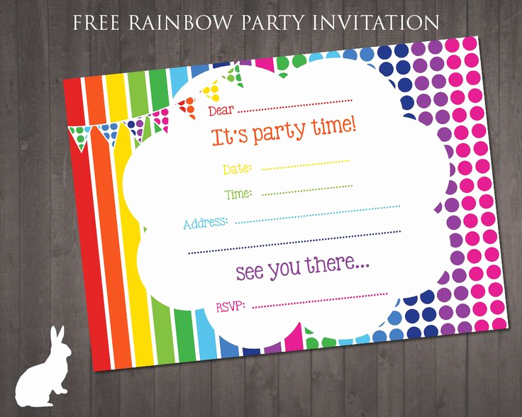 Kids Birthday Party Invitation Template New Free Rainbow Party Invitation