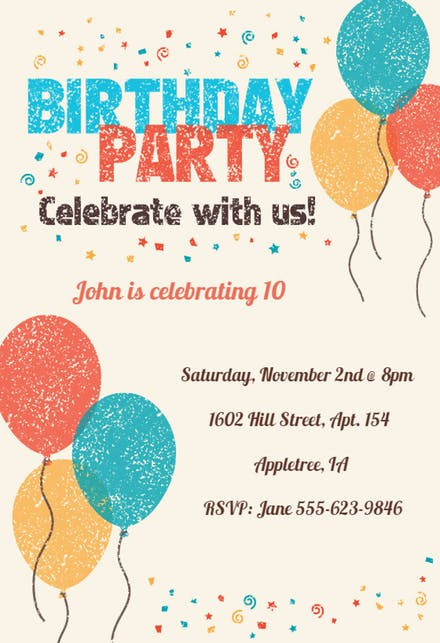 Kids Birthday Party Invitation Template New Kids Birthday Invitation Templates Free
