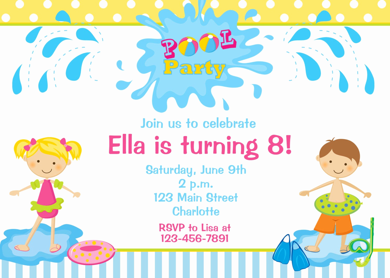 Kids Pool Party Invitation Awesome Pool Party Birthday Invitation Pool Party by thebutterflypress