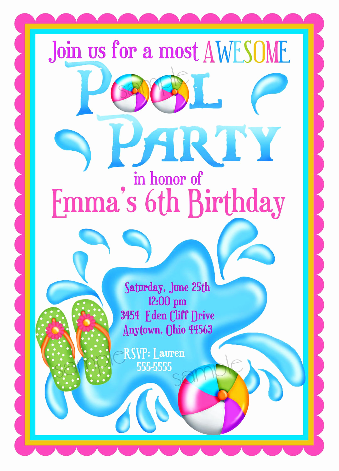 Kids Pool Party Invitation Awesome Pool Party Invitations Personalized Invitations Girl