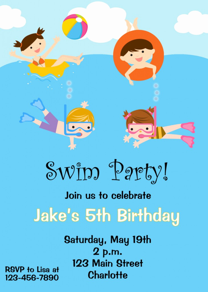 Kids Pool Party Invitation Beautiful Free Printable Birthday Pool Party Invitations