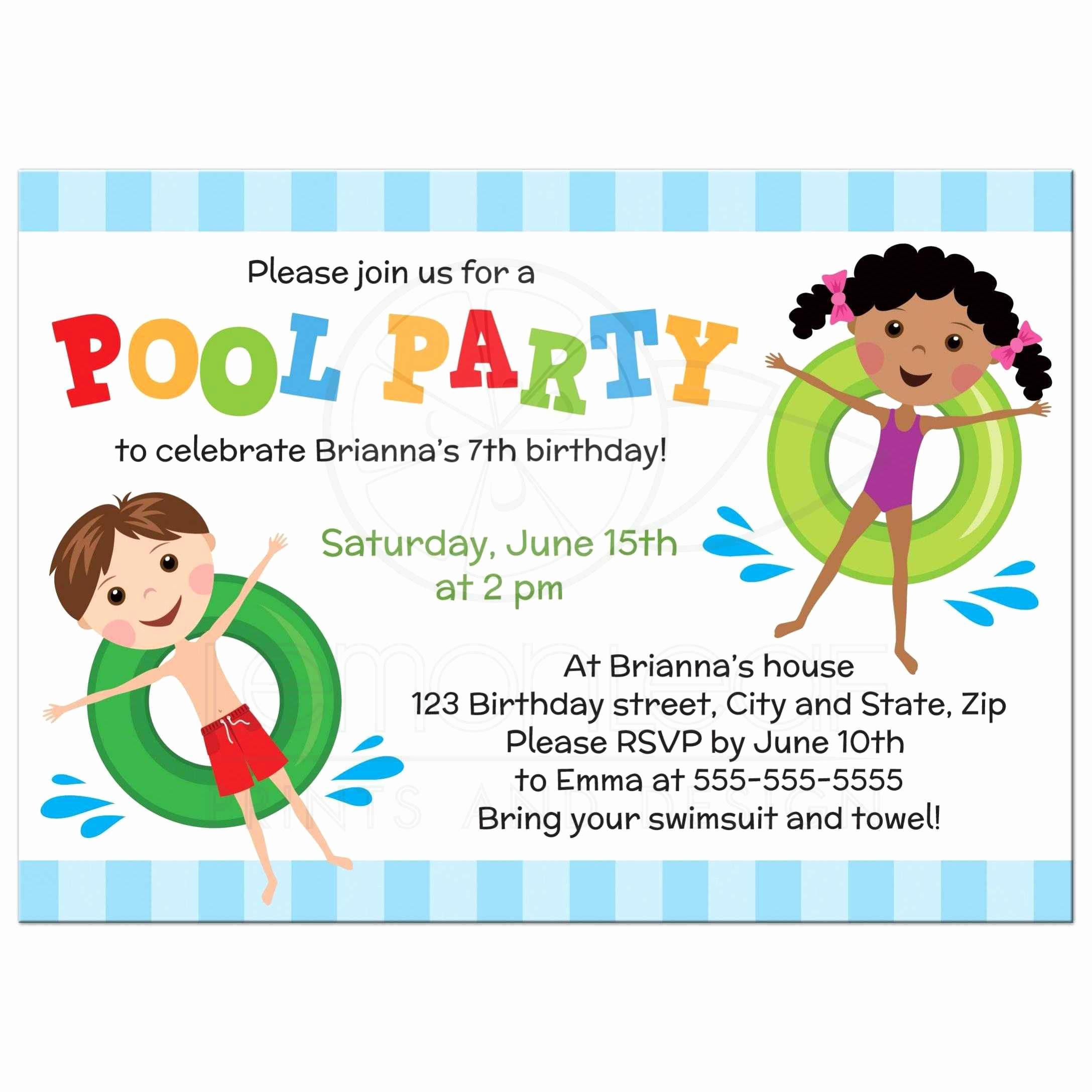 Kids Pool Party Invitation Elegant Kindergeburtstag Einladungskarten Zum Ausdrucken Kostenlos