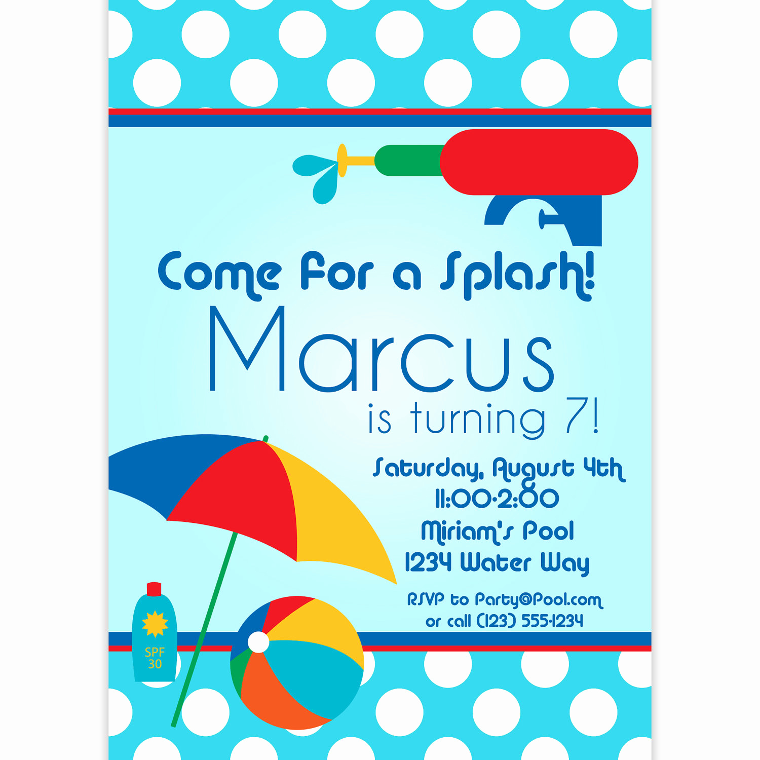 Kids Pool Party Invitation Elegant Pool Party Invitation Blue Polka Dots and Red Water Squirt