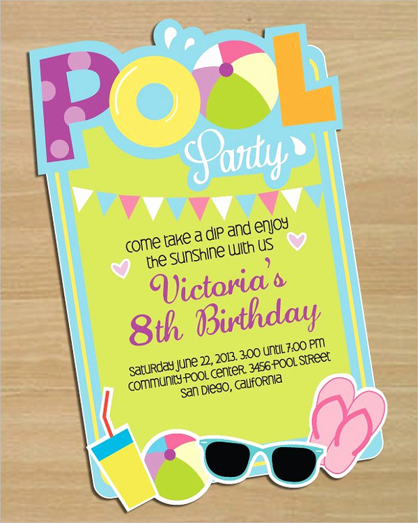 Kids Pool Party Invitation Fresh 33 Printable Pool Party Invitations Psd Ai Eps Word
