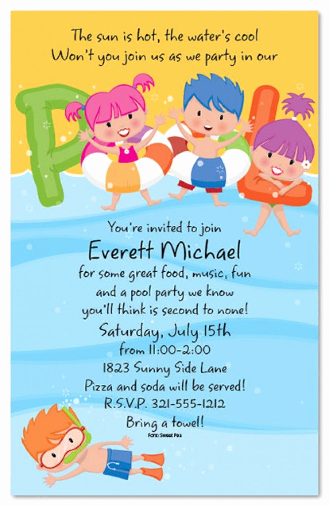 Kids Pool Party Invitation Inspirational Free Printable Kids Pool Party Invitations Templates 4
