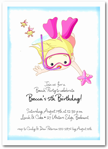 Kids Pool Party Invitation Inspirational Snorkeling Girl