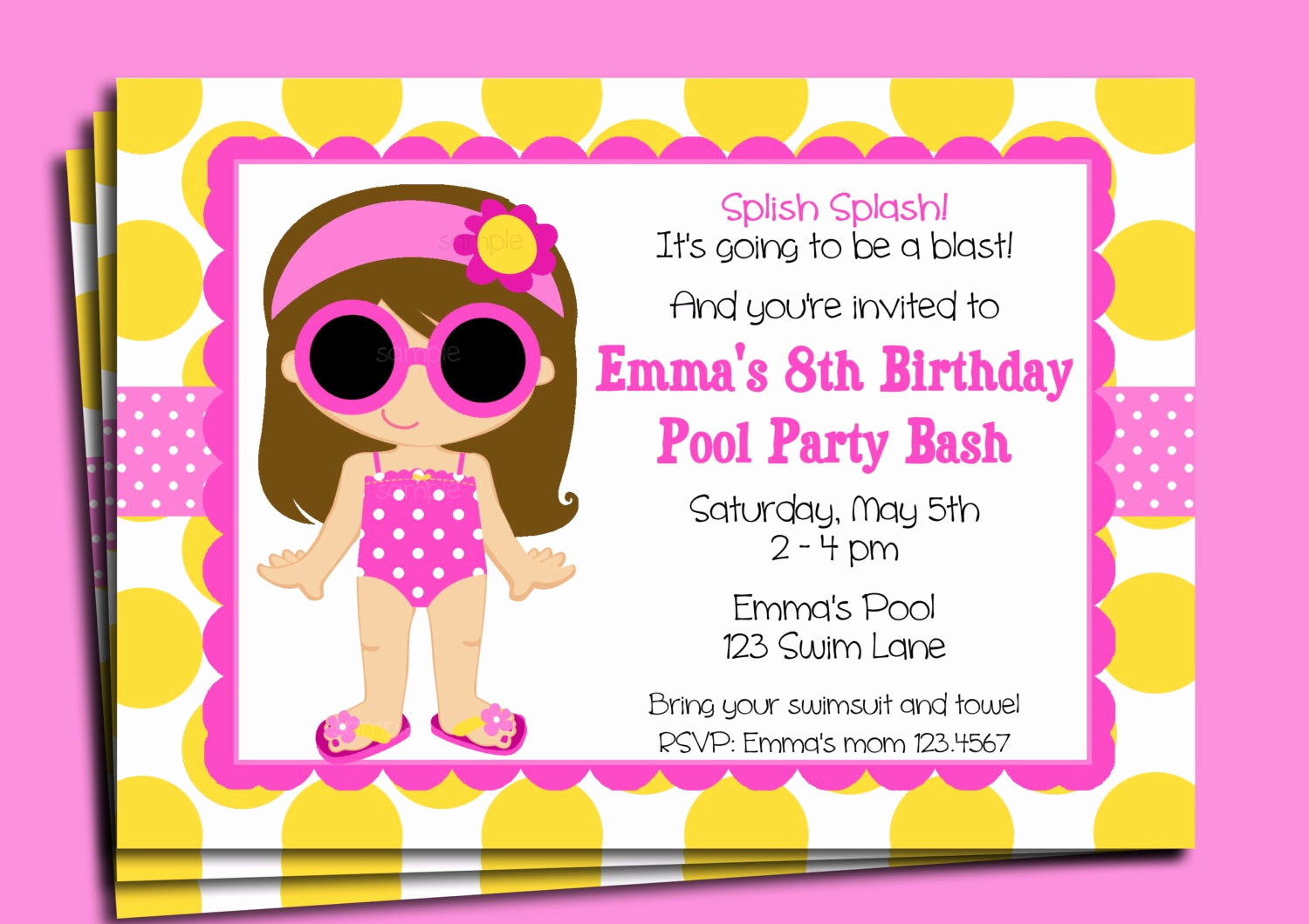 Kids Pool Party Invitation Lovely Pool Party Invitation Printable or Printed with Free Shipping