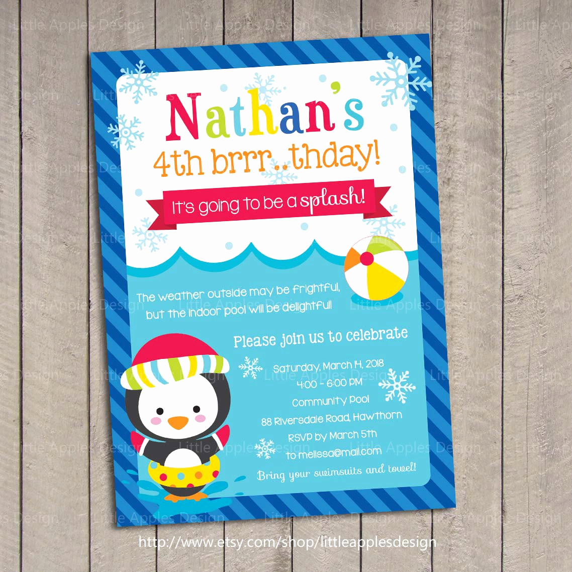 Kids Pool Party Invitation Lovely Winter Kids Pool Party Invitation Winter Pool by Dreamyduck
